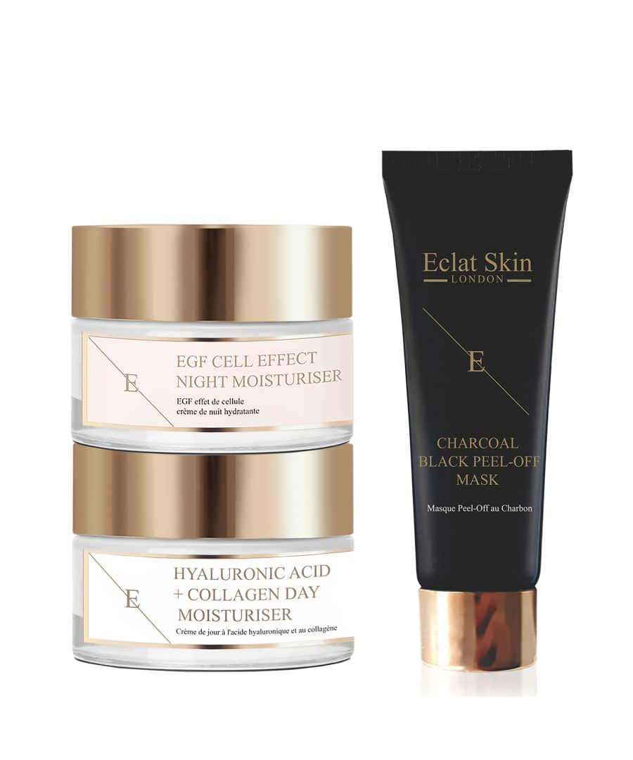 Image for Hyaluronic Acid & Collagen Amino Acids Day Cream + EGF Cell Effect Night Moisturiser 50ml + Purifying Charcoal Black Peel-Off Mask 24K Gold - 50ml