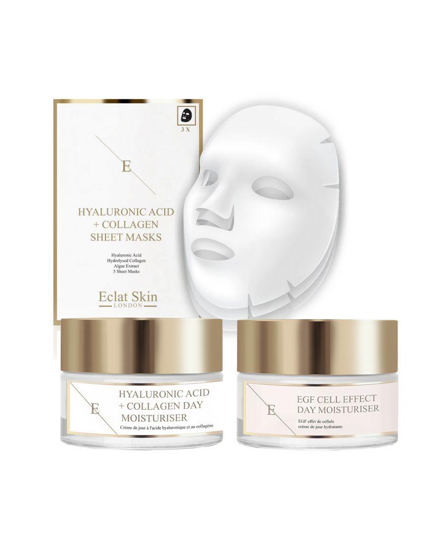 Image for EGF Cell Effect Day Moisturiser 50ml + Hyaluronic Acid & Collagen Amino Acids Day Cream + Hyaluronic Acid & Collagen Mask - 3 Sheets