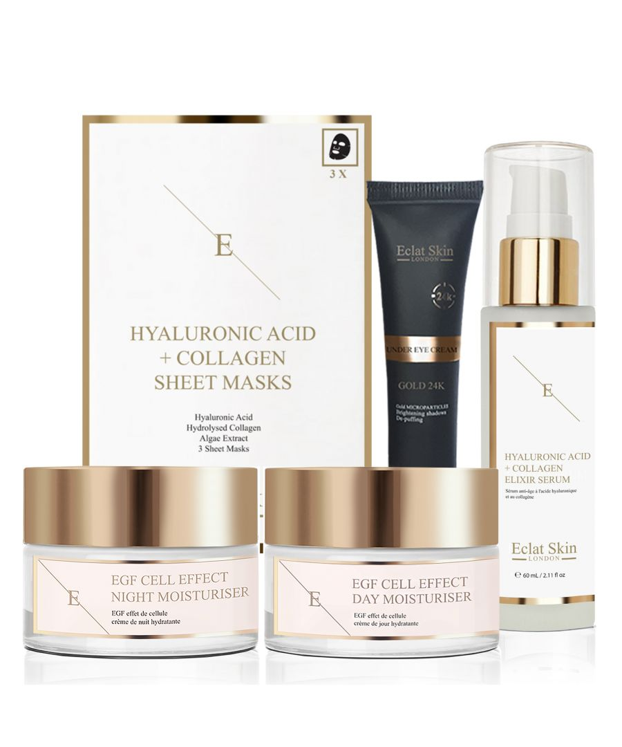 Image for EGF Cell Effect Day Moisturiser 50ml + EGF Cell Effect Night Moisturiser 50ml + Hyaluronic Acid & Collagen Mask - 3 Sheets + Anti-Wrinkle Elixir Serum 24K Gold - 60ml + Under Eye Cream 24K Gold (15ml)