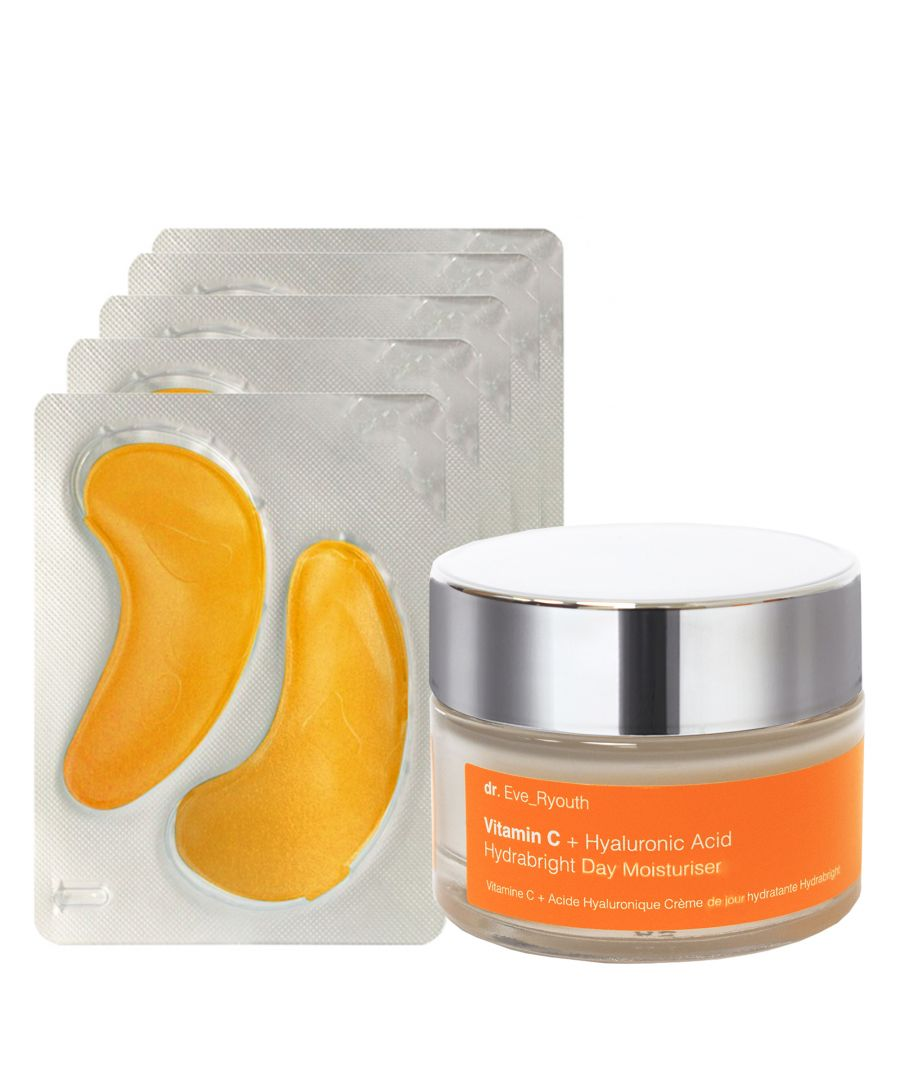 Image for 24K Gold + Antioxidant Hydrating Eye Treatments Pads + Vitamin C + Hyaluronic Acid Hydrabright Day Moisturiser 50ml