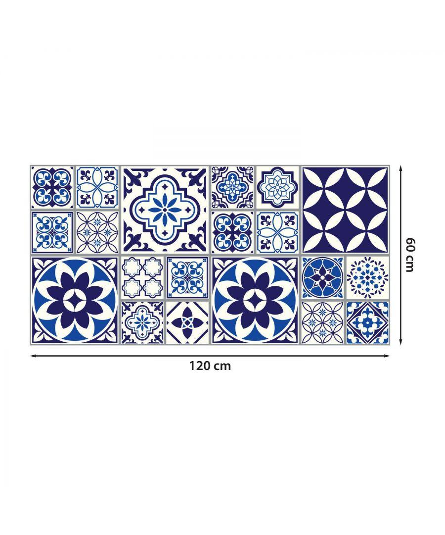 Image for WFS6010 - Spanish and Moroccan Blue Tiles Melange Floor Sticker 120cm x 60 cm