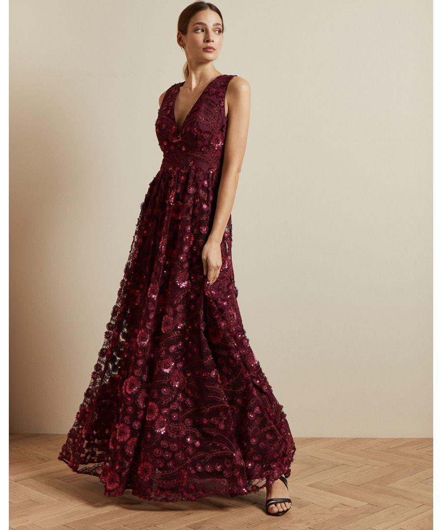 Image for Ted Baker Dayya V Neck Maxi Dress, Ox Blood