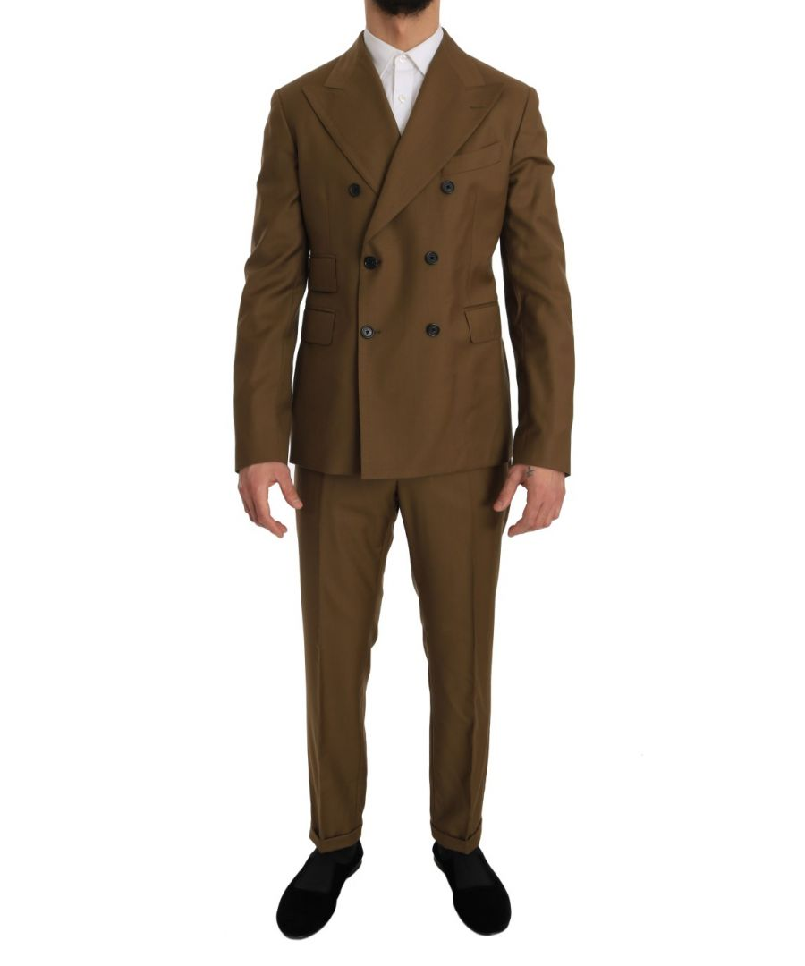 Image for Dolce & Gabbana Brown Wool Double Breasted Slim Fit Suit