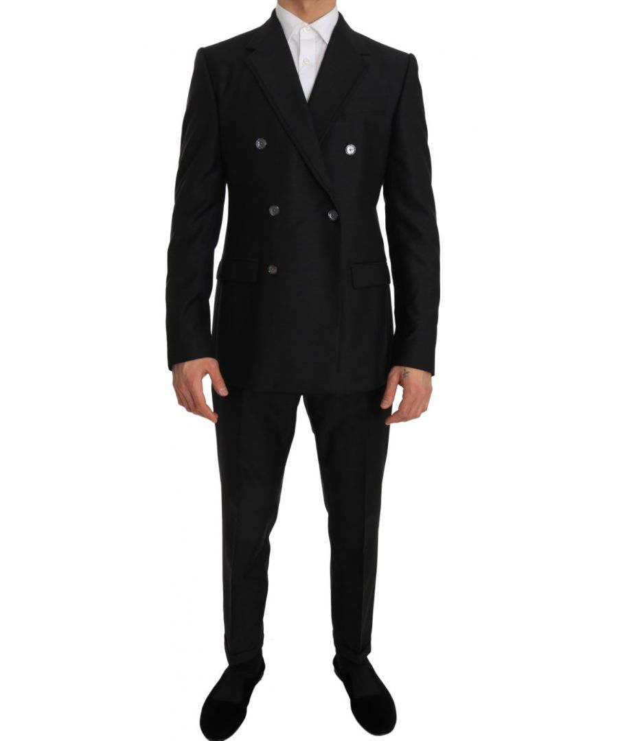 Image for Dolce & Gabbana Gray Wool Silk Double Breasted Slim Fit Suit