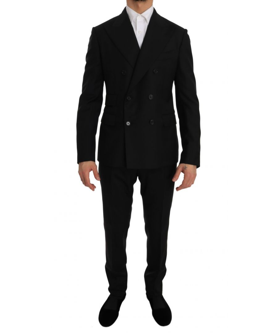 Image for Dolce & Gabbana Black Double Breasted Slim Fit Suit