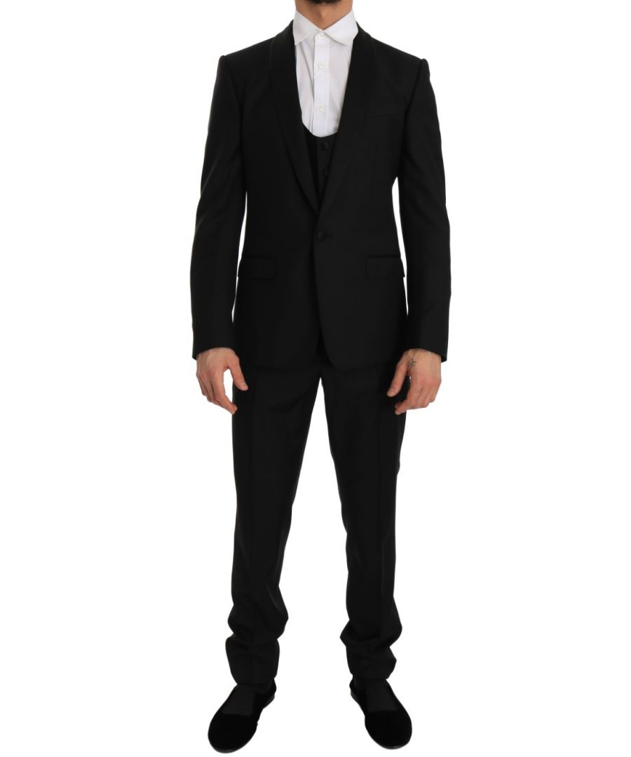 Image for Dolce & Gabbana Black Wool Silk MARTINI Slim Smoking Suit