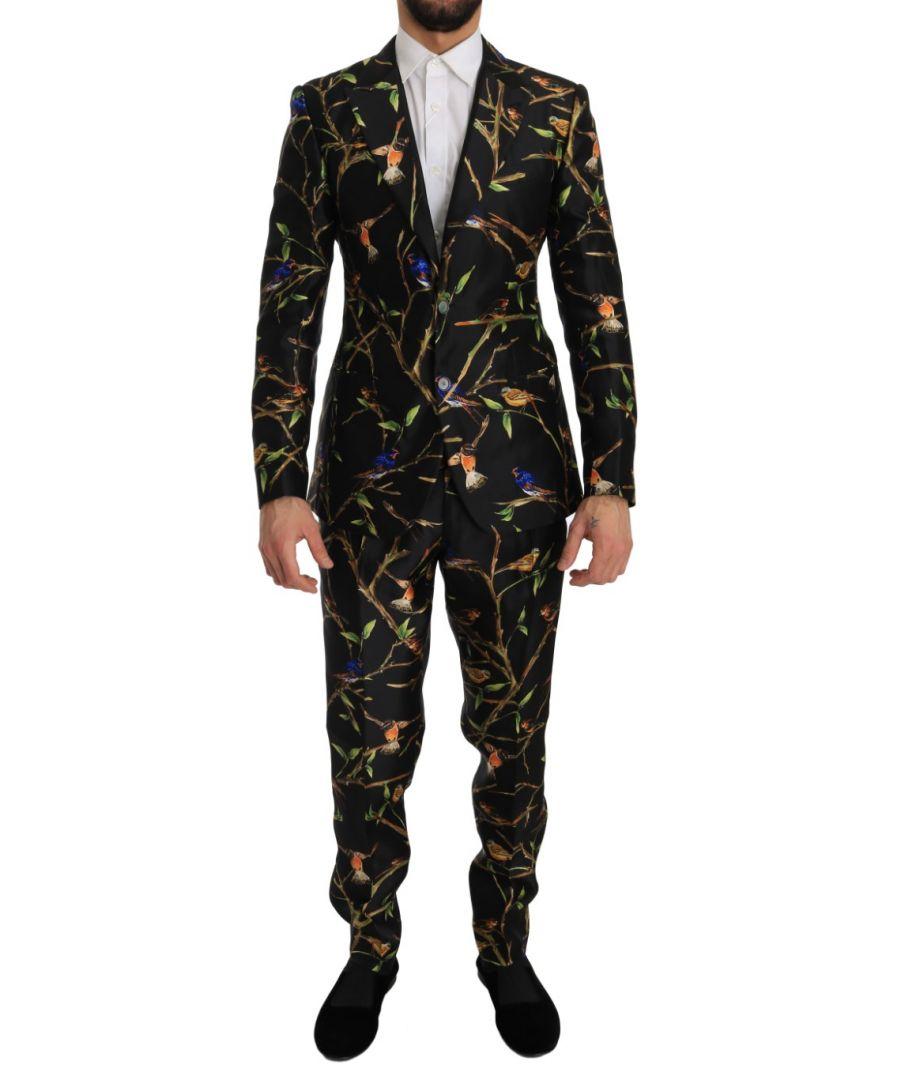 Image for Dolce & Gabbana Black Bird Silk SICILIA Slim Fit Blazer Suit