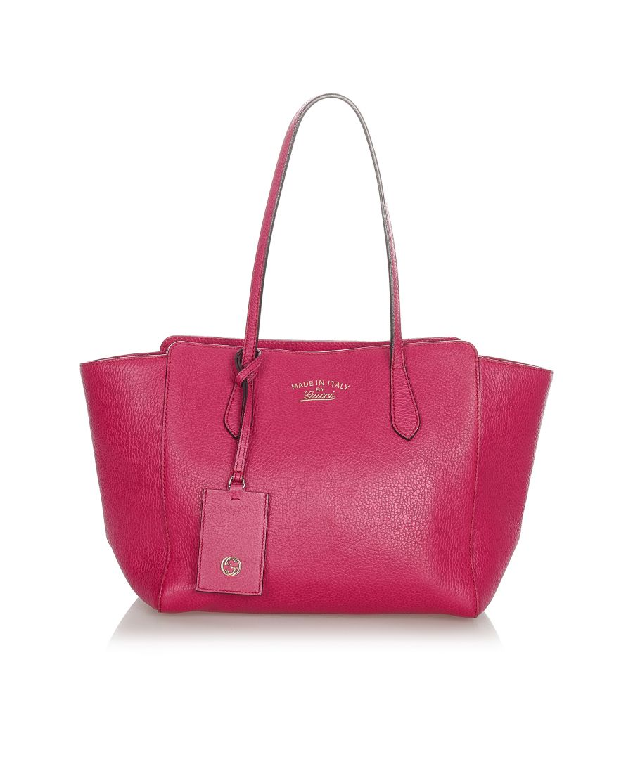 Image for Vintage Gucci Swing Leather Tote Bag Pink