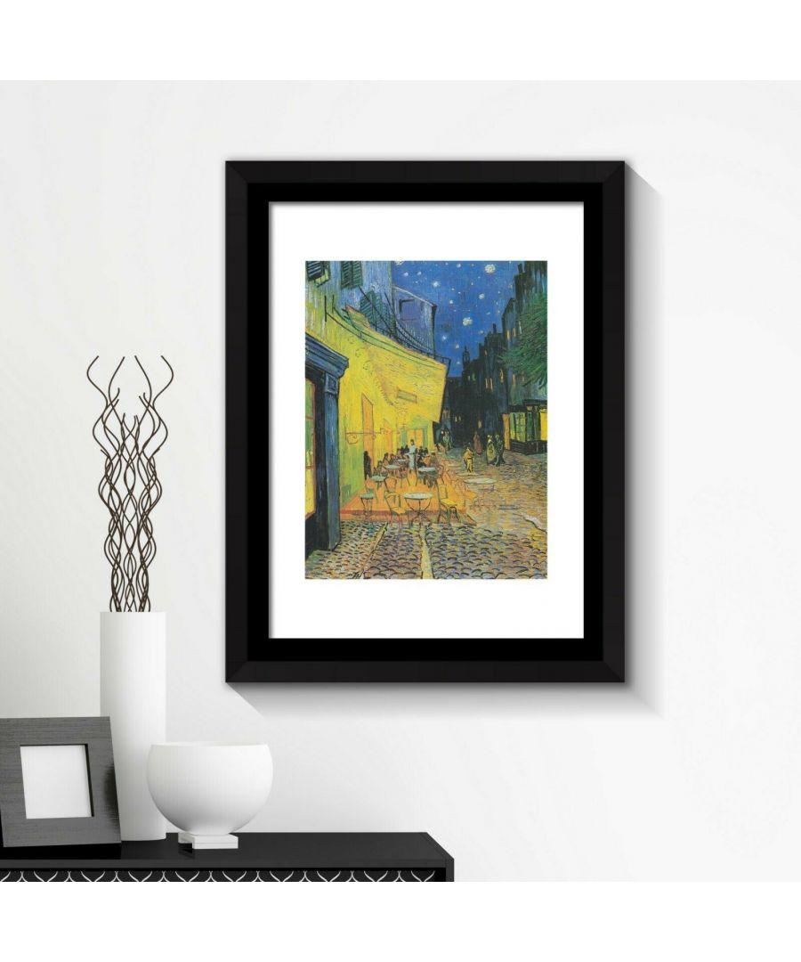 Image for Framed Art 2in1 Painting Poster - Café Terrence at Night, 1888 by Vincent van Gogh Framed Photo, Framed Art