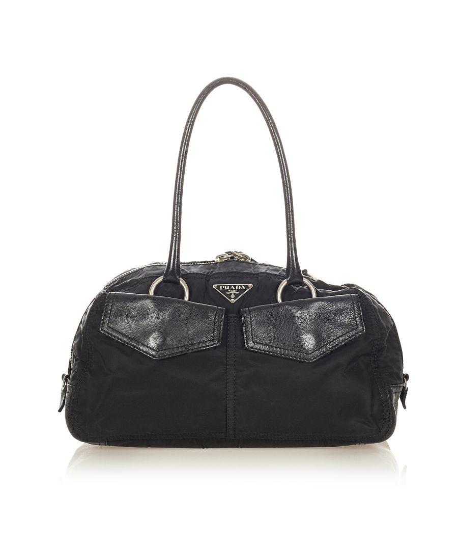 Image for Vintage Prada Tessuto Boston Bag Black