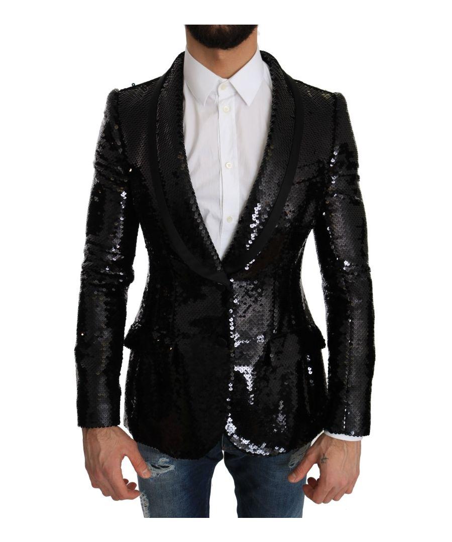 Image for Dolce & Gabbana Black Sequin Shiny Slim Blazer
