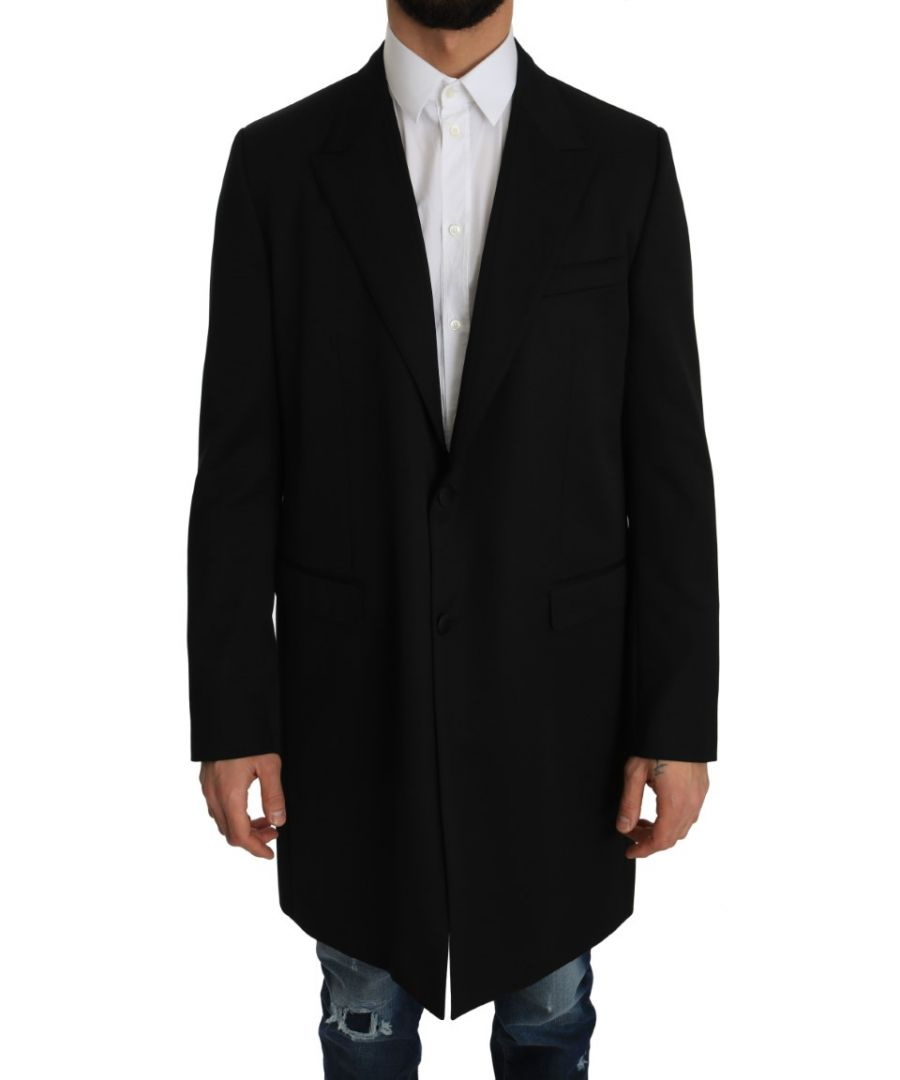 Image for Dolce & Gabbana Black 100% Wool Trench Jacket