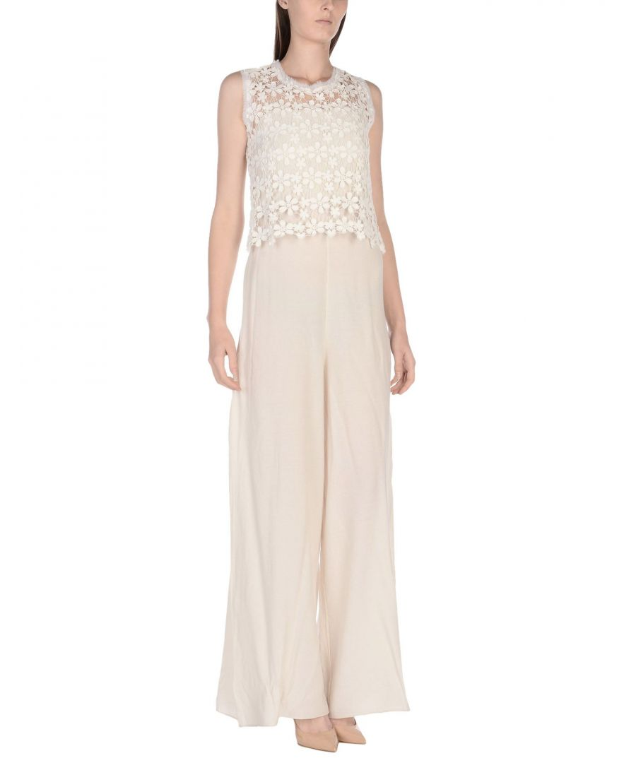 Image for Hanita White Crepe And Lace Sleeveless Jumpsuit