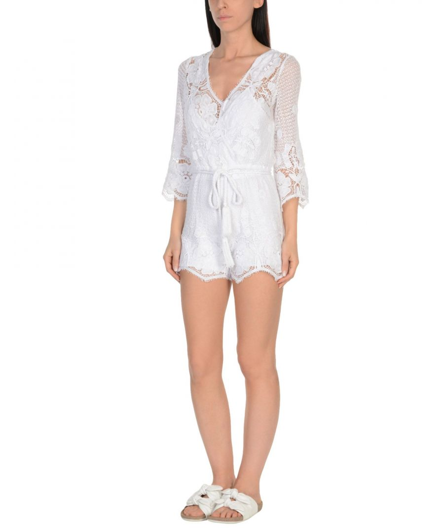 Image for Miguelina White Cotton Lace Playsuit