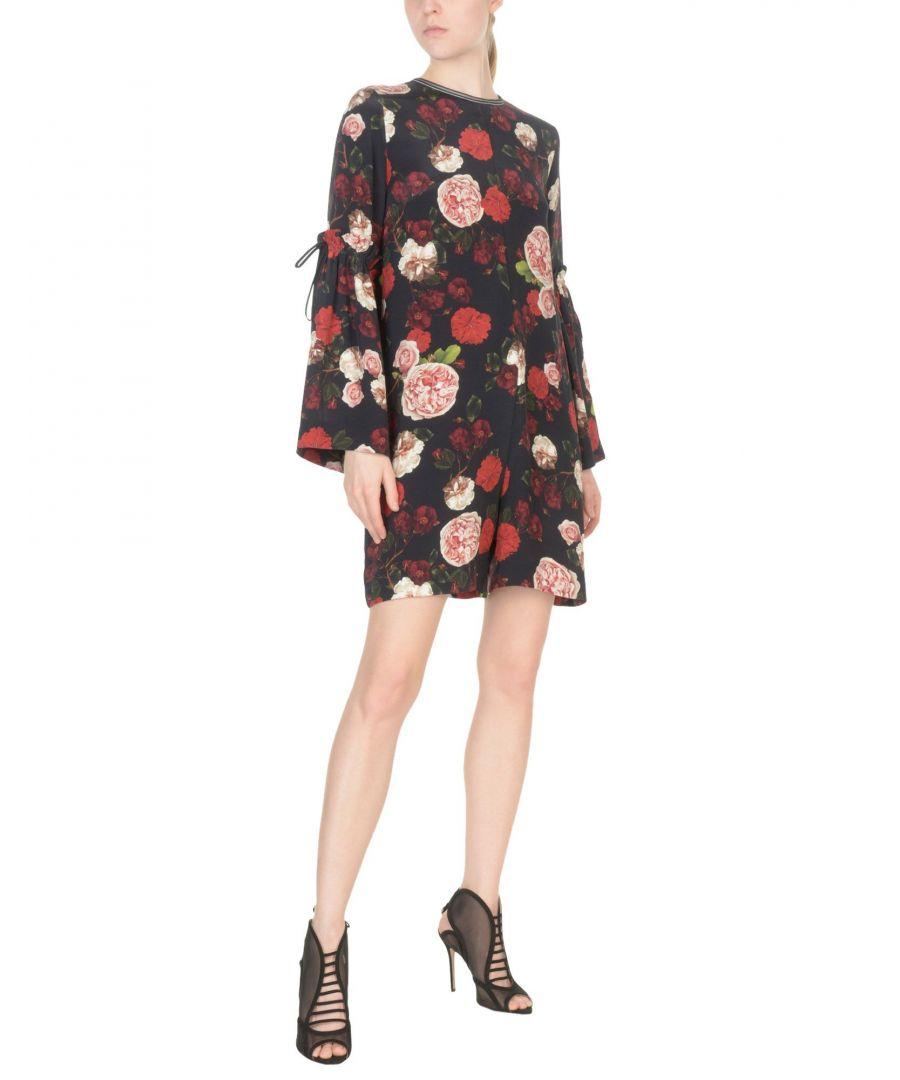 Image for Mother Of Pearl Black Floral Design Silk Playsuit