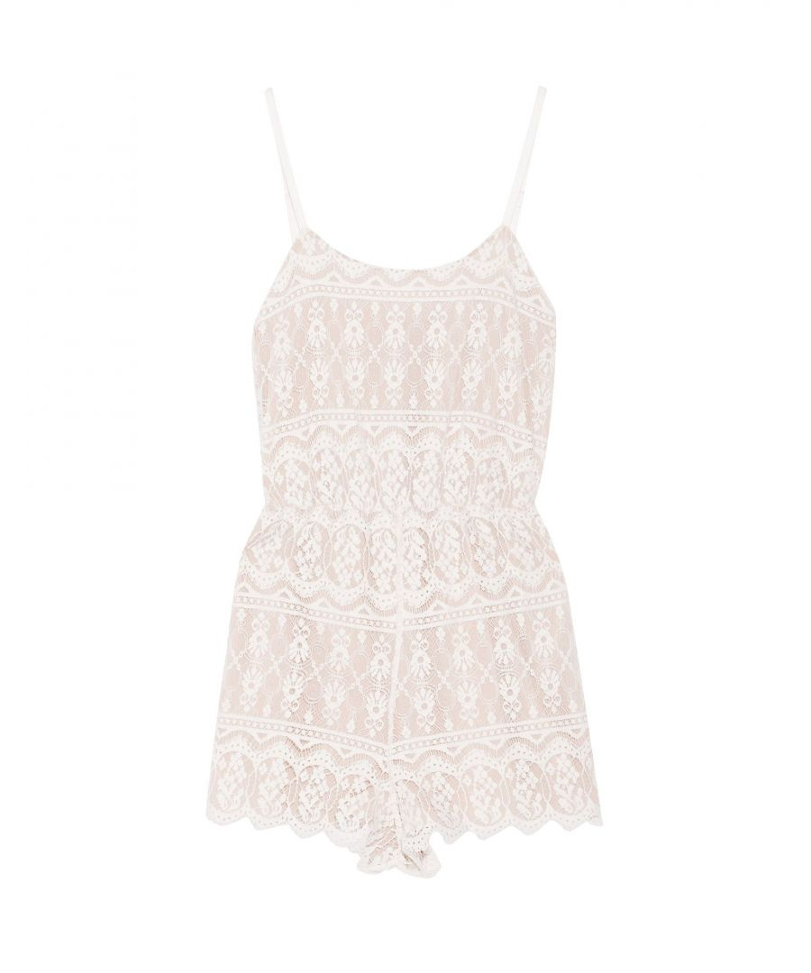Image for Alice + Olivia White Cotton Lace Playsuit