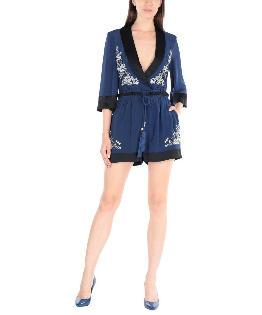 Image for Elisabetta Franchi Gold Dark Blue Silk Embroidered Playsuit