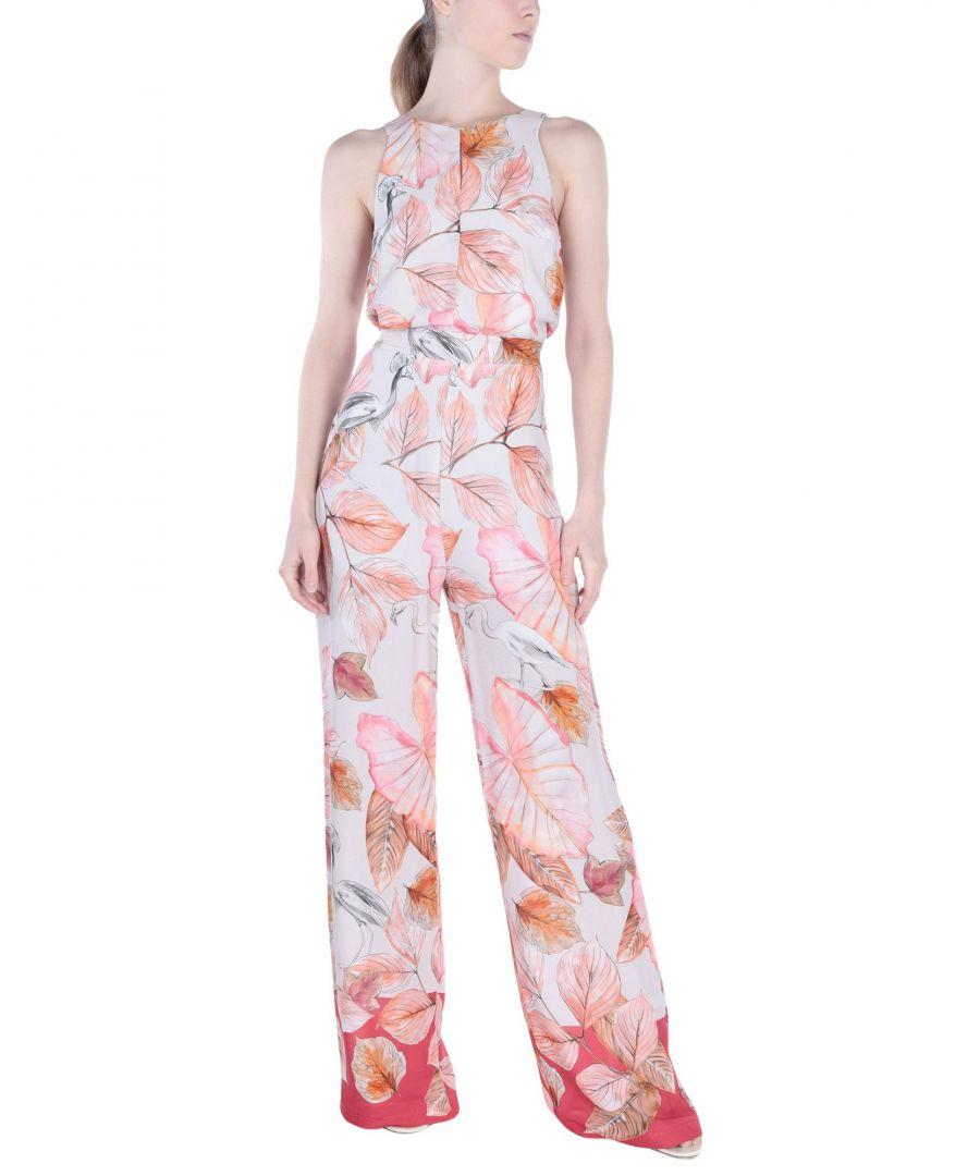 Image for Kaos Light Pink Floral Design Jumpsuit