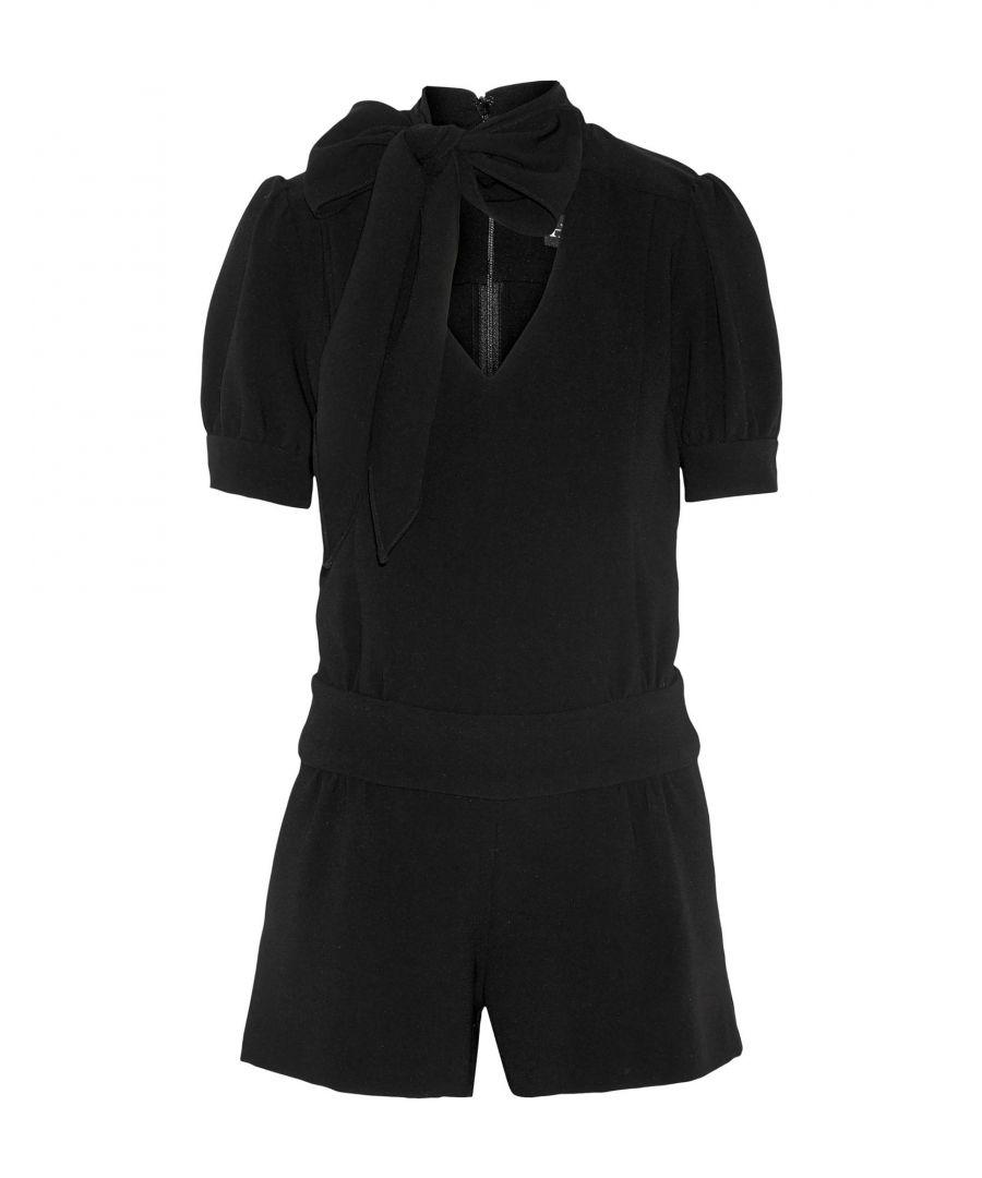 Image for Haney Black Crepe Frill Short Sleeve Playsuit
