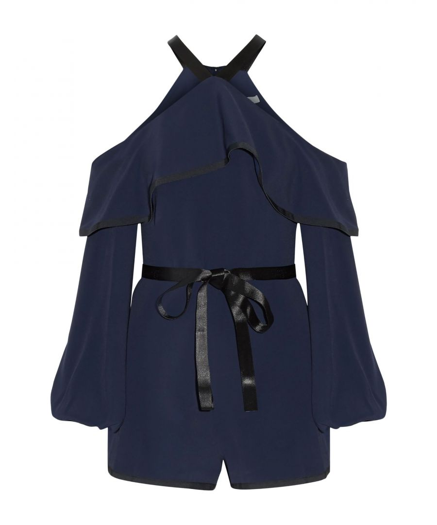 Image for Alexis Dark Blue Satin And Crepe Belted Playsuit