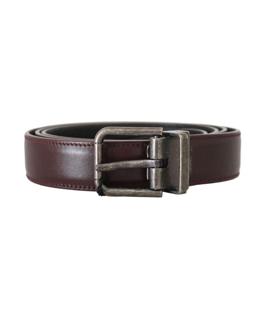 Image for Dolce & Gabbana Bordeaux Leather Gray Brushed Buckle Belt