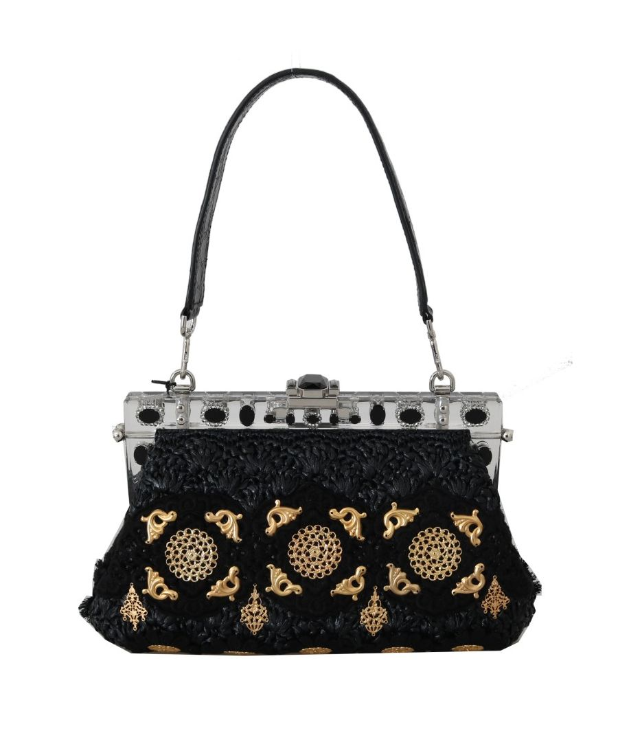 Image for Dolce & Gabbana VANDA Black Crystal Tassel Gold Charms Party Bag