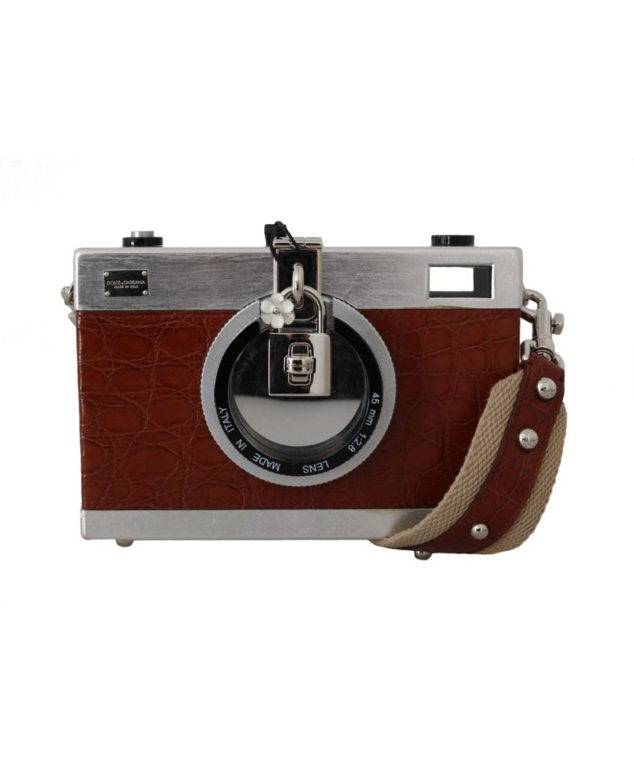 Image for Dolce & Gabbana Camera Case Brown Caiman Crocodile Silver Wood Purse