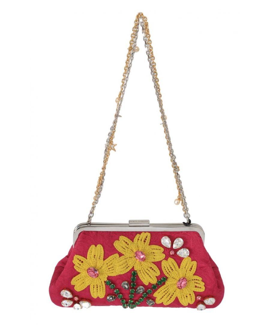 Image for Dolce & Gabbana Pink Brocade Floral Crystal Applique Evening Purse