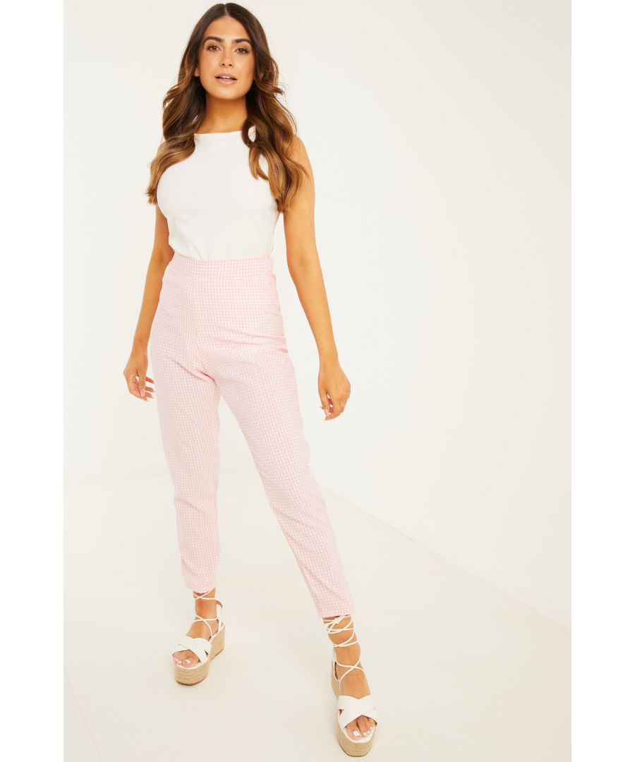 Image for Petite Pink Gingham Trousers
