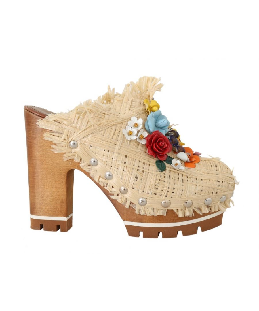 Image for Dolce & Gabbana Beige Raffia Mules Floral Slides