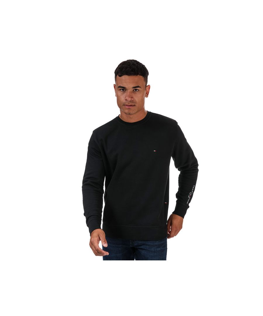 Image for Men's Tommy Hilfiger Tommy Sleeve Logo Sweatshirt Black Lin Black