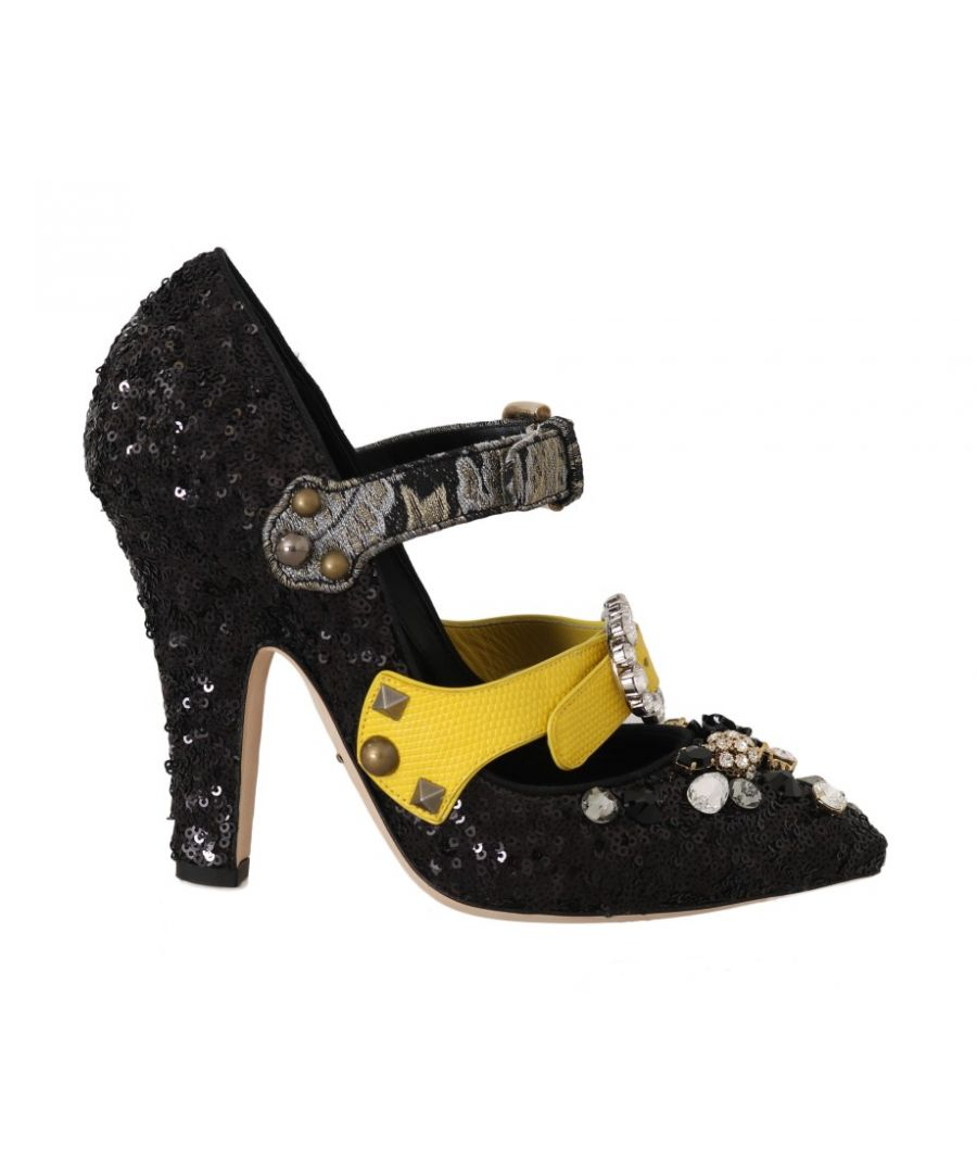 Image for Dolce & Gabbana Black Sequined Crystal Studs Heels Shoes