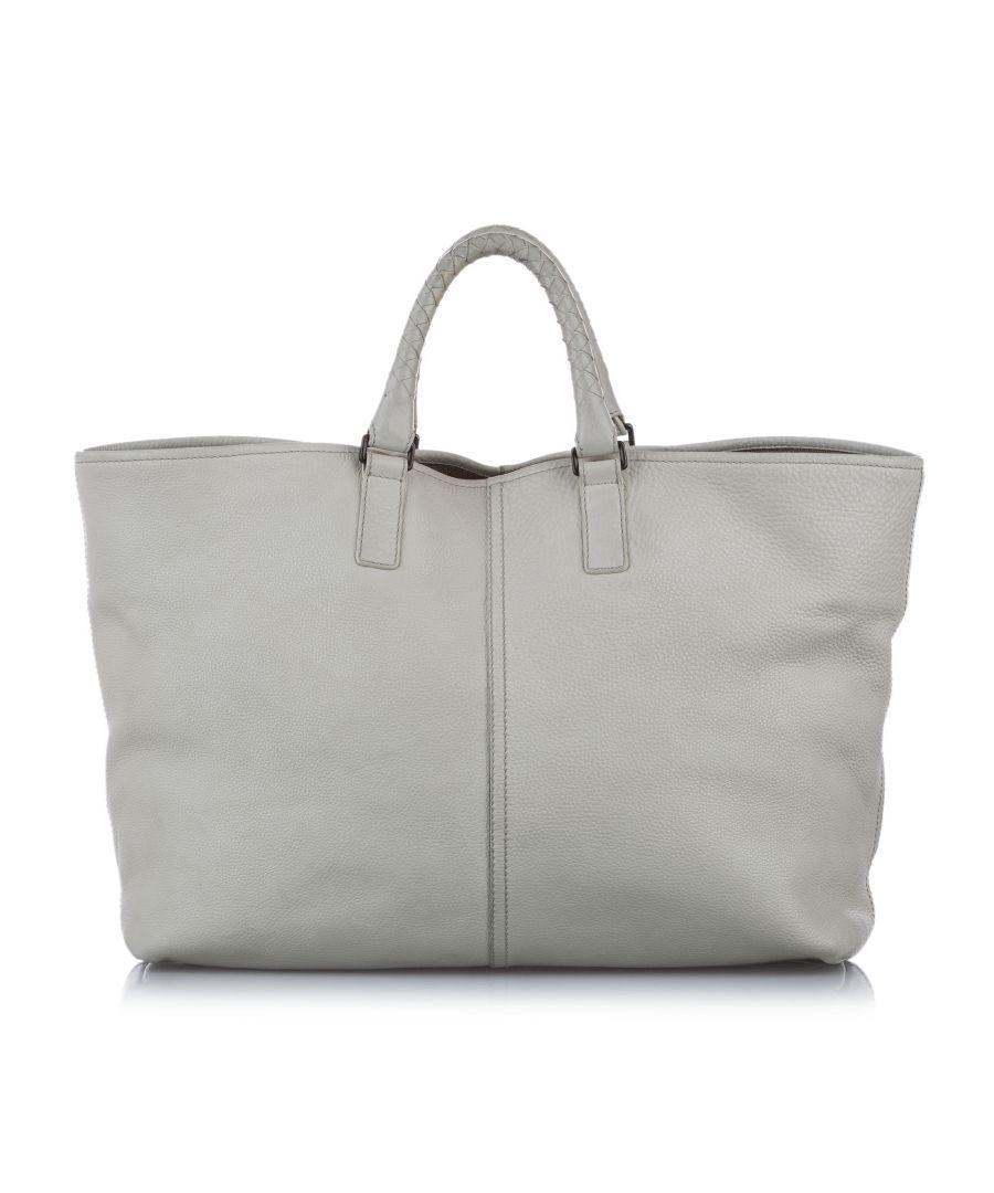 Image for Vintage Bottega Veneta Leather Tote Bag White