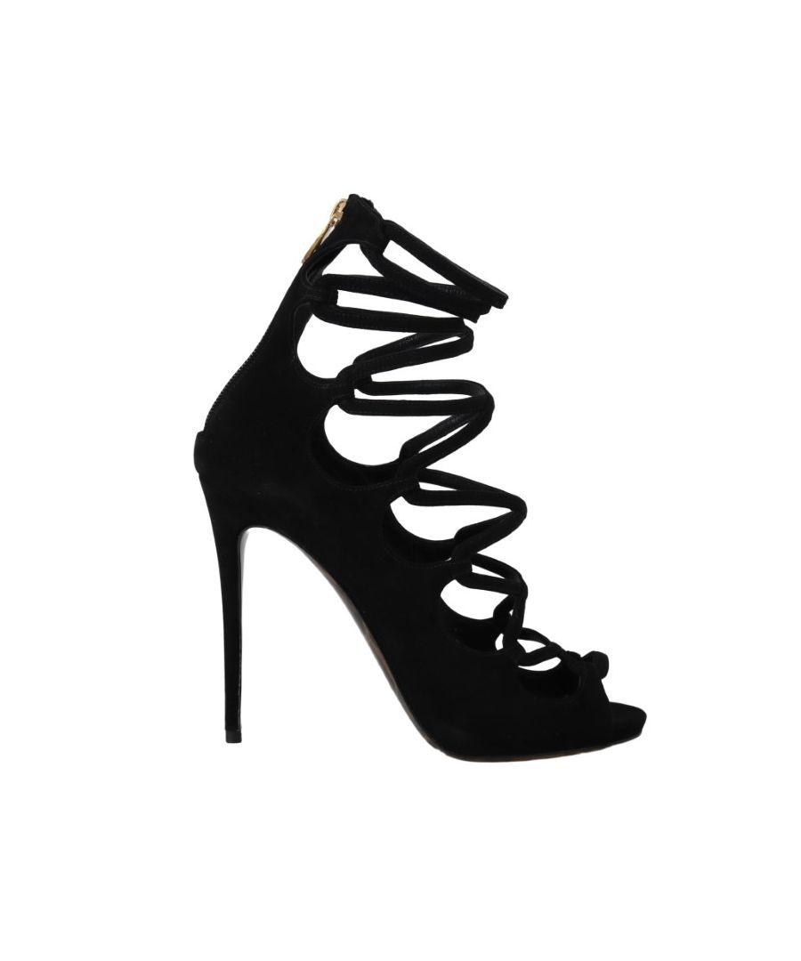 Image for Dolce & Gabbana Black  Suede Ankle Strap Heels Pumps