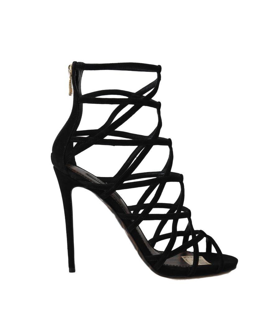 Image for Dolce & Gabbana Black Suede Stiletto Heels Sandals