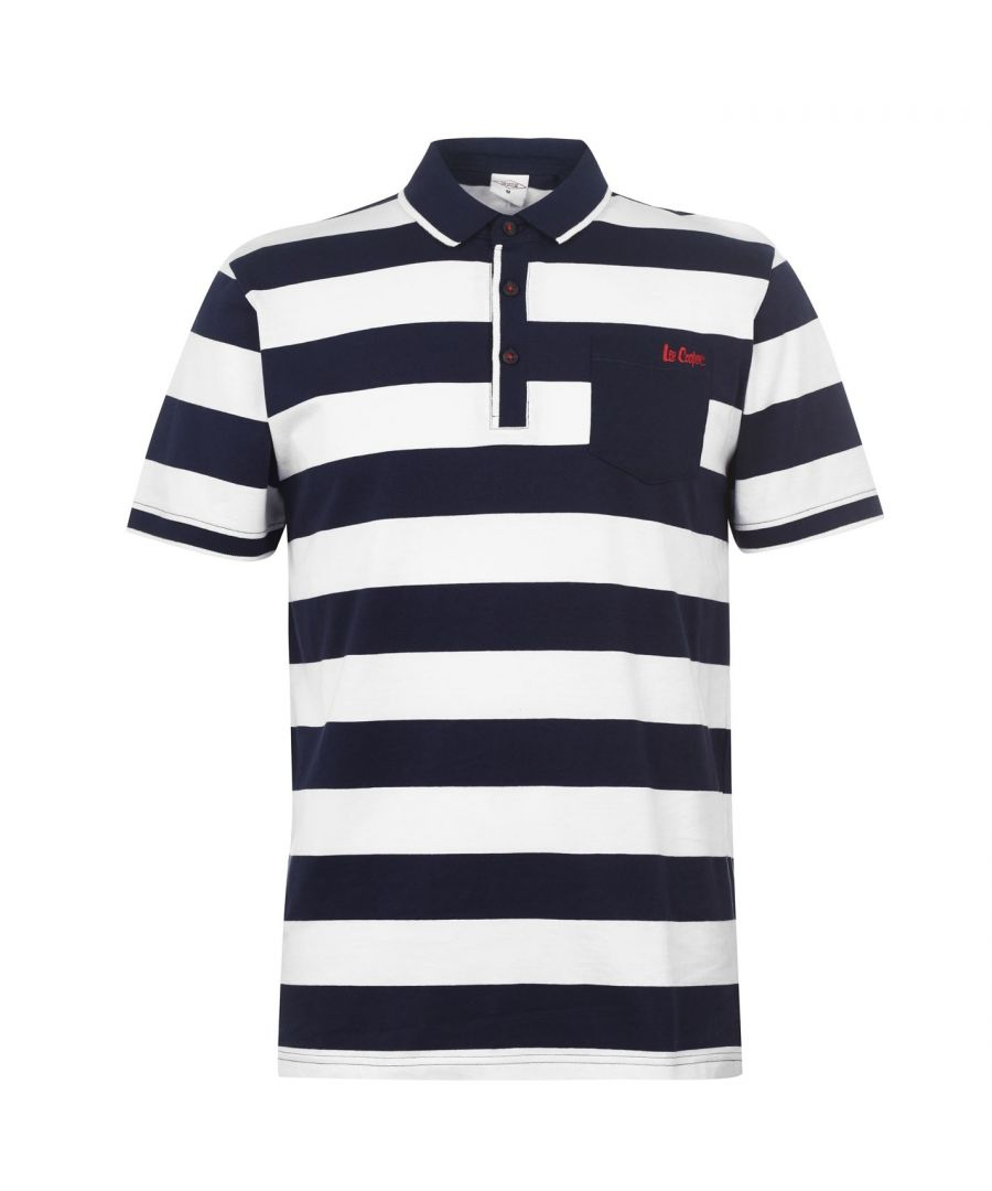 Image for Lee Cooper Mens Double Stripe Polo Shirt Short Sleeves