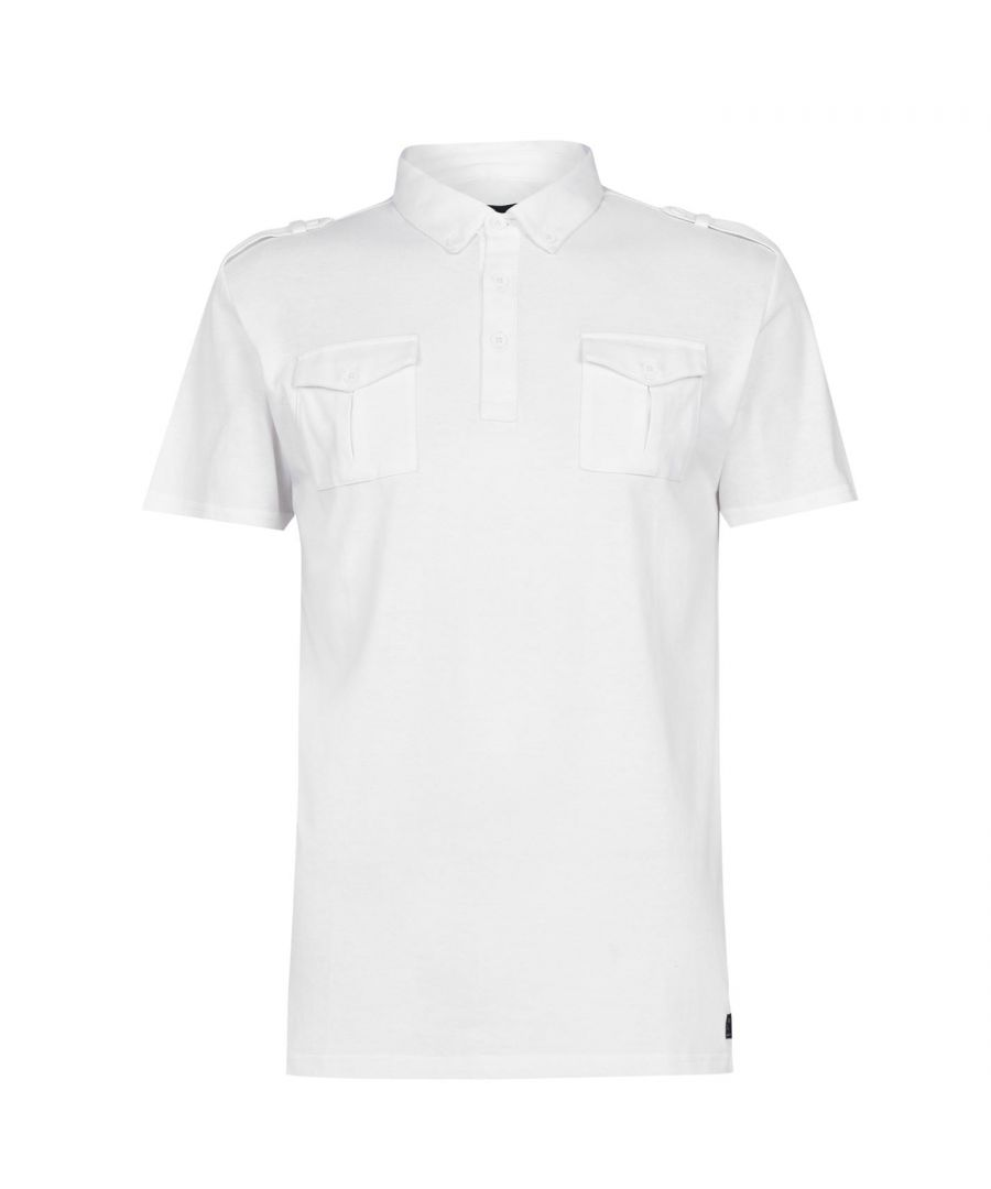 Image for Firetrap Mens Double Pocket Polo Slim Fit Shirt Tee Top Short Sleeve Button