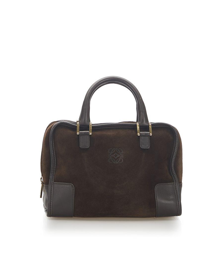 Image for Vintage Loewe Amazona 28 Suede Handbag Brown