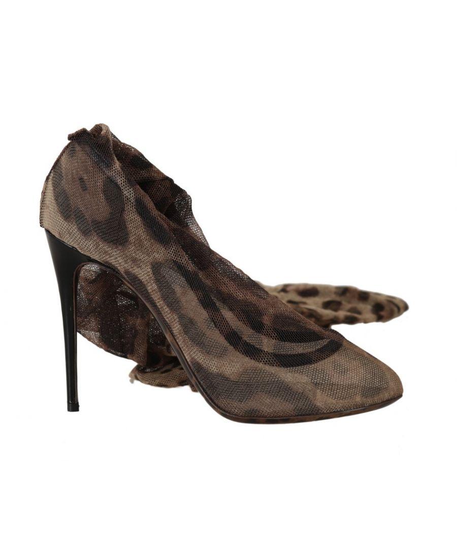 Image for Dolce & Gabbana Brown Leopard Tulle Long Socks Pumps