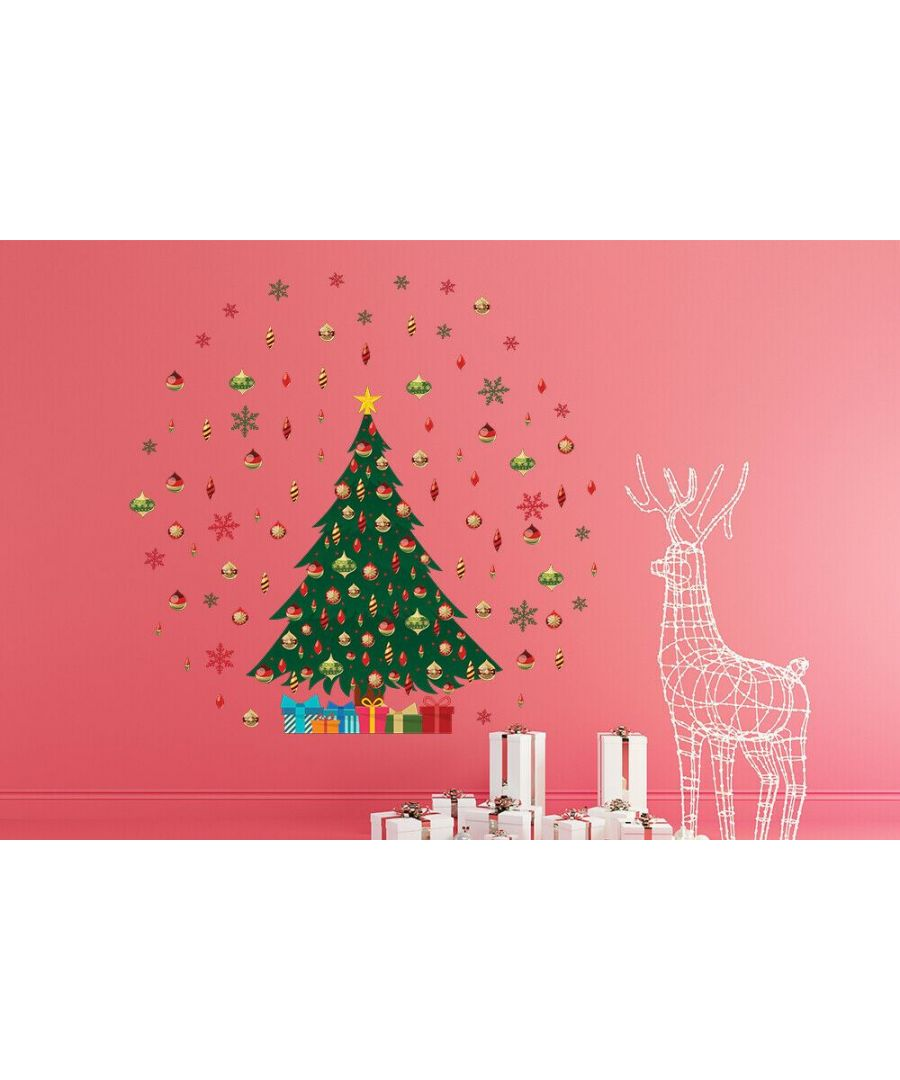 Image for C3W0005 - Reindeer Christmas Tree  Colourful Dots and Snowflakes  - WS4301 + WS3326 + WS3041