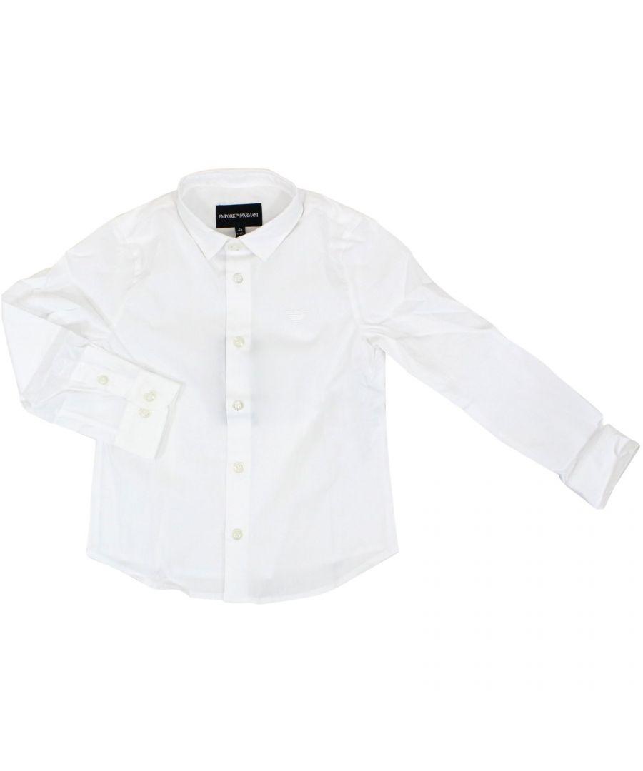 Image for EMPORIO ARMANI BOYS 8N4C091N06Z0100 WHITE COTTON SHIRT