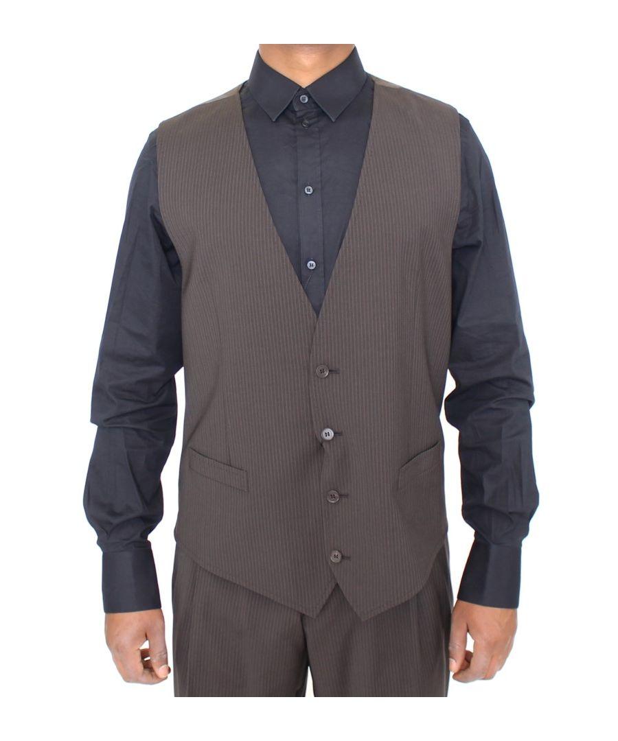 Image for Dolce & Gabbana Brown Striped Stretch Dress Vest