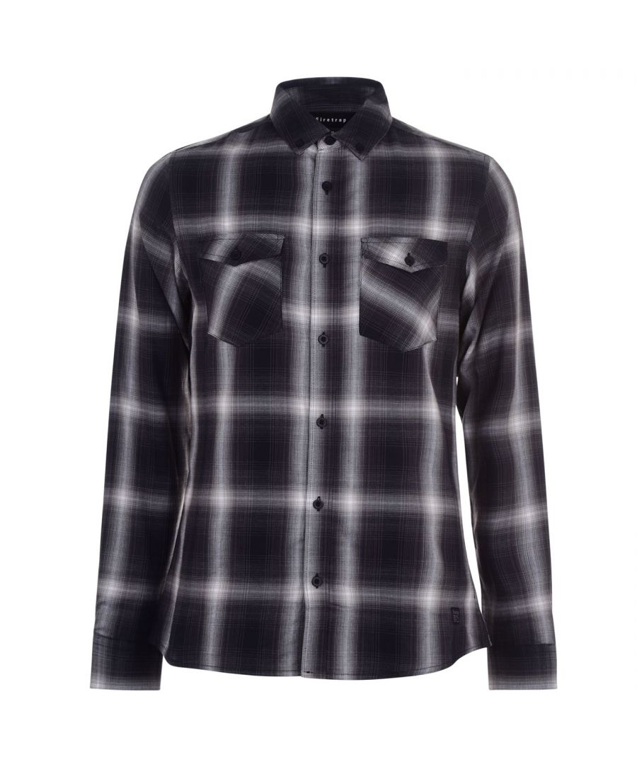 Image for Firetrap Men Long Sleeve Check Shirt Casual Collared Lightweight Soft Fabric Top