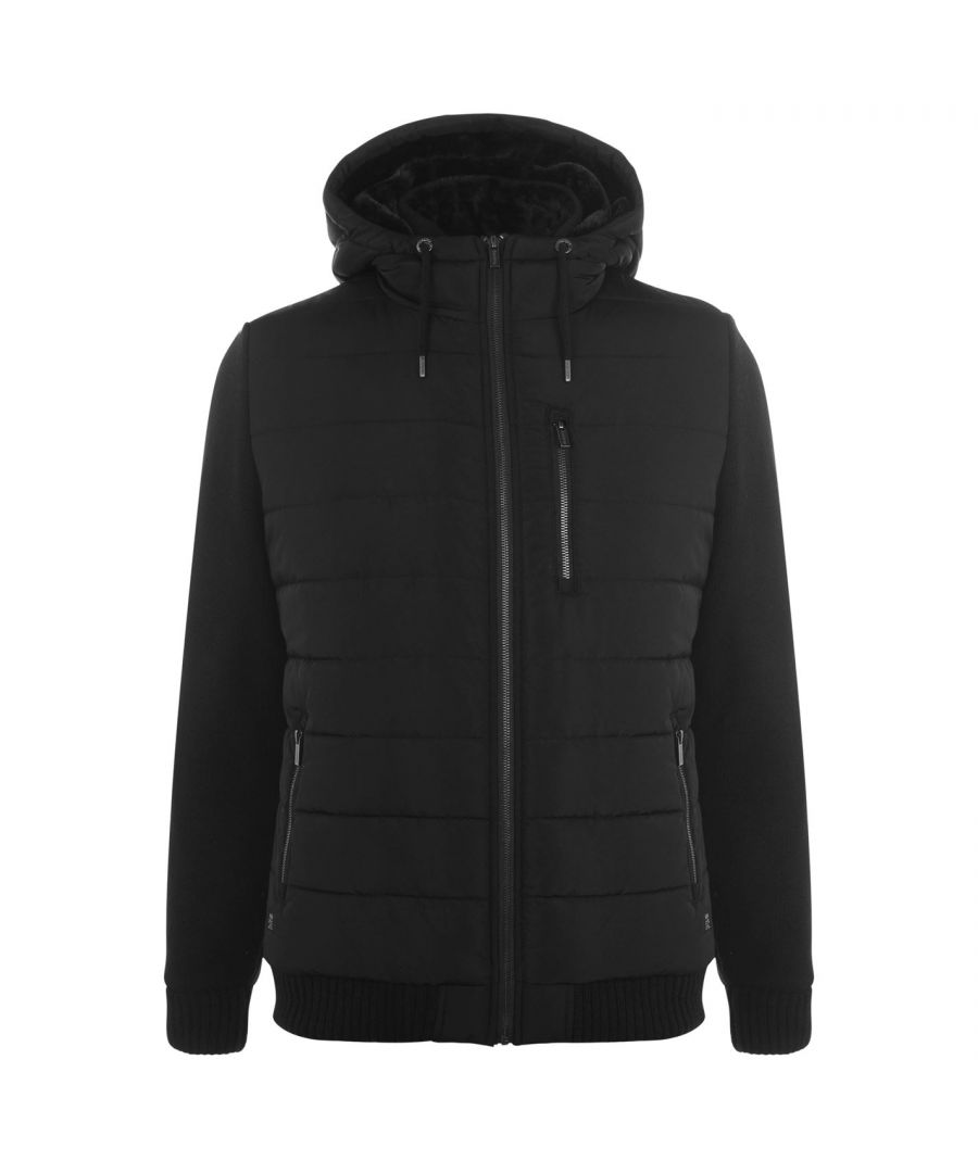 Image for Firetrap Mens Sartorial Knit Jacket Outerwear Lined Full Zip Hooded Casual Top