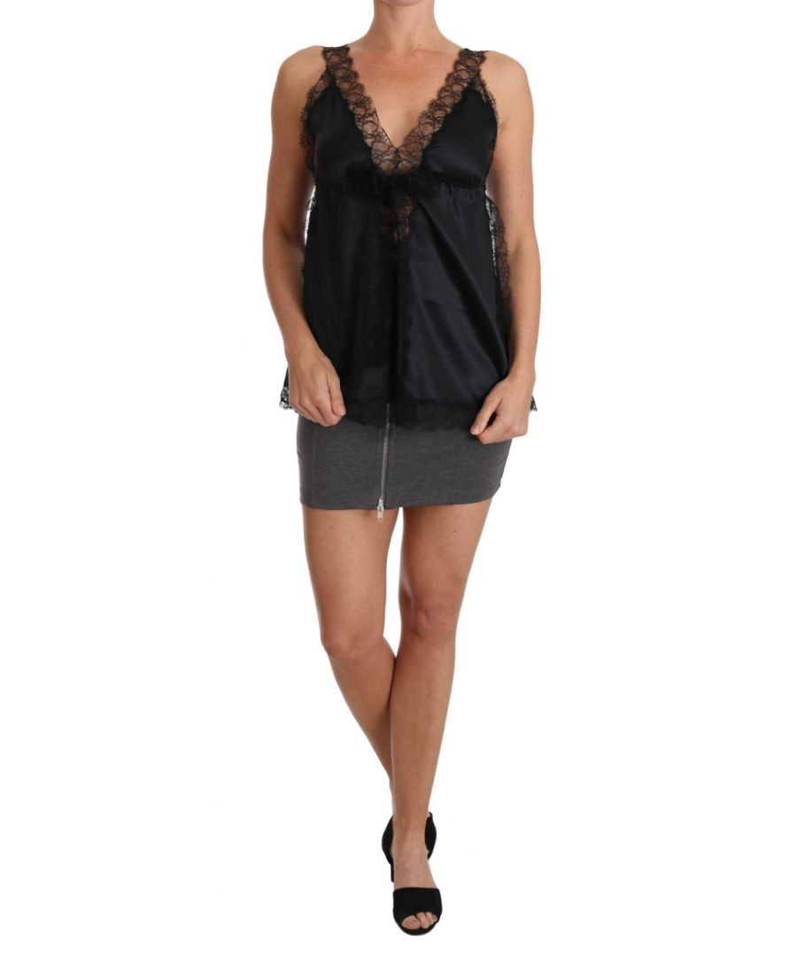 Image for Dolce & Gabbana Lingerie Cami Black Lace Silk Stretch