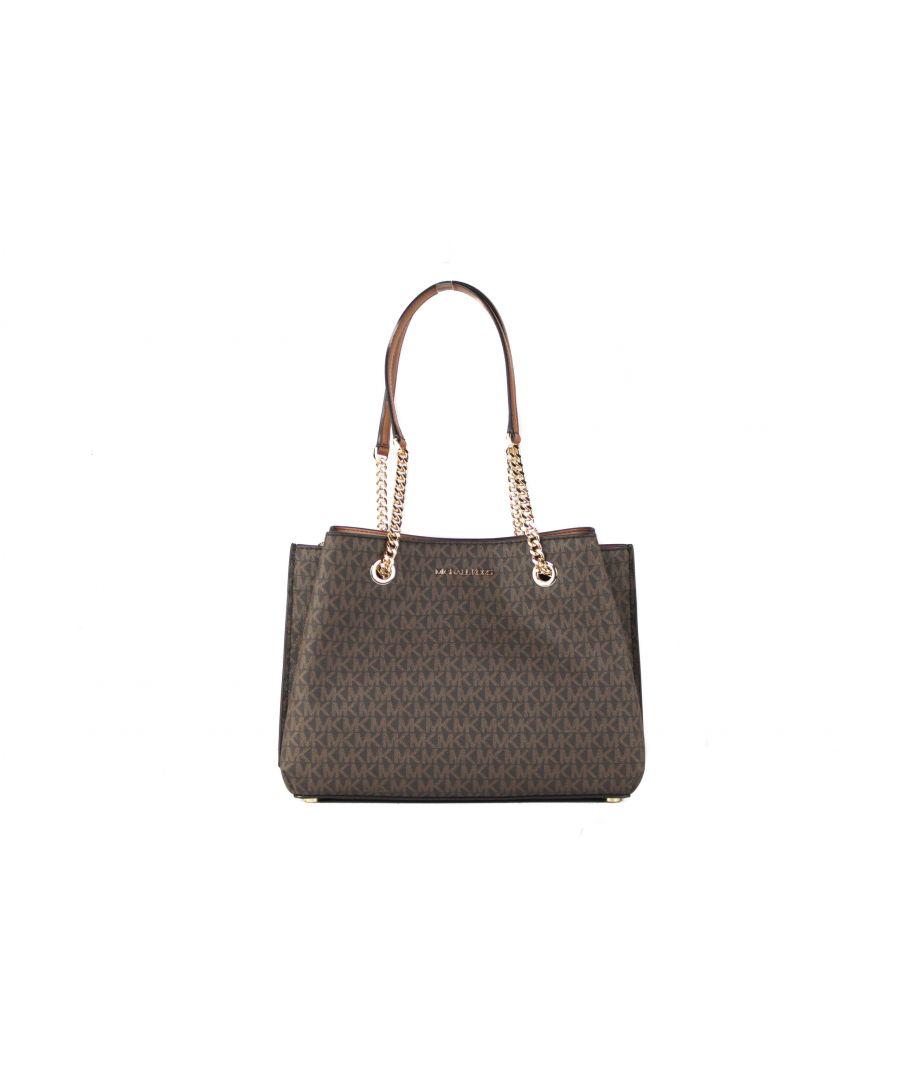 Image for Michael Kors Teagen Large Leather Long Drop Satchel Handbag (Brown Signature)