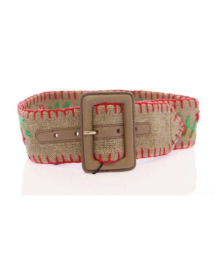 Image for Dolce & Gabbana Multicolor Floral Leather Logo Belt