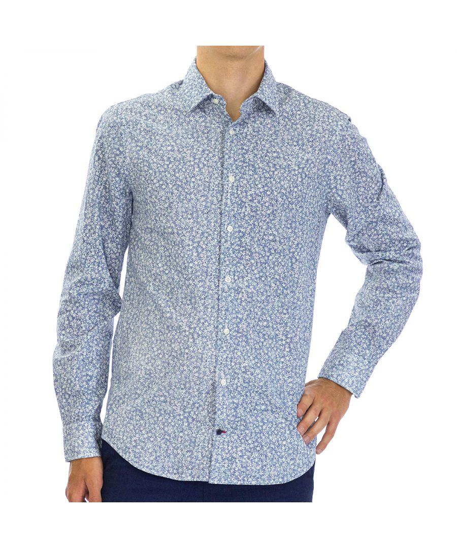 Image for Tommy Hilfiger Men Shirt Floral Slim Fit  Full sleeve Blue