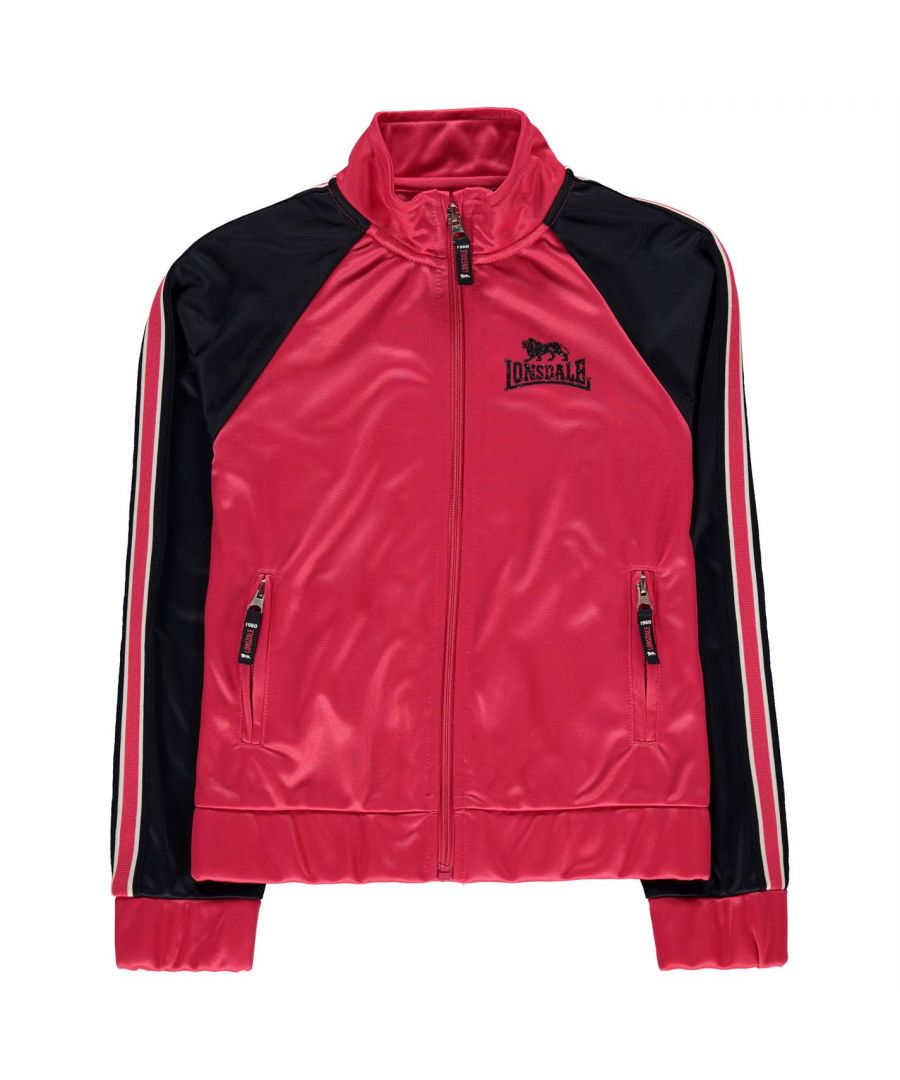 Image for Lonsdale Girls Track Top Jacket Kids Zip Up Front and Pockets Long Sleeve