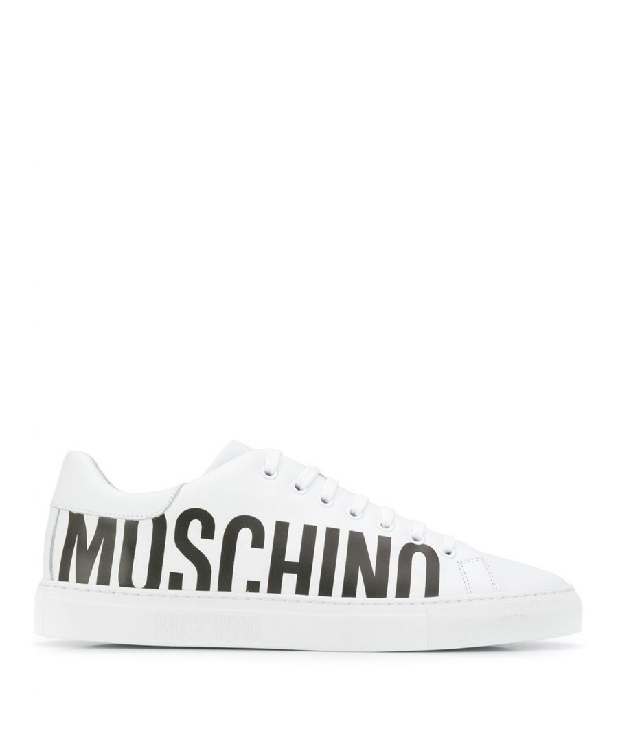 Image for MOSCHINO MEN'S MB15012G1AGA0100 WHITE LEATHER SNEAKERS